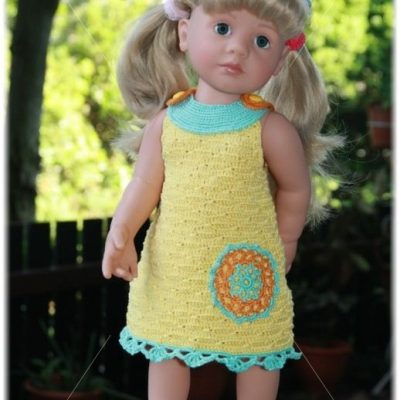 Yellow crochet dress for Gotz dolls