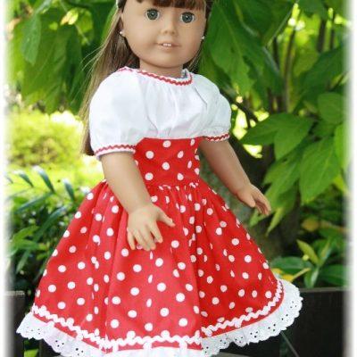 Red polka dot dress for Amalia