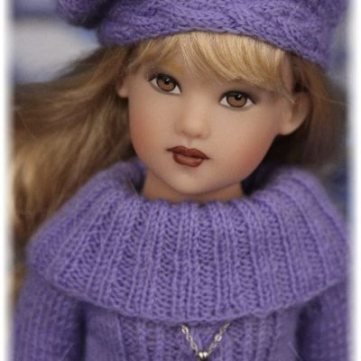 Blue knitted outfit for Kish doll