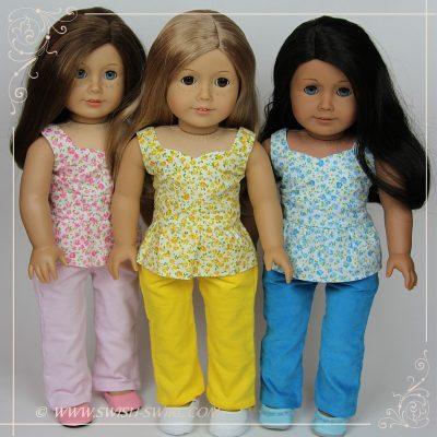 Разноцветные топы и брюки для кукол Американ Герл