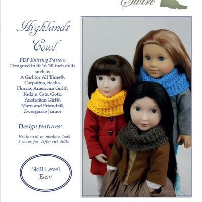 Highlands Cowl knitting pattern for 16-20-inch dolls
