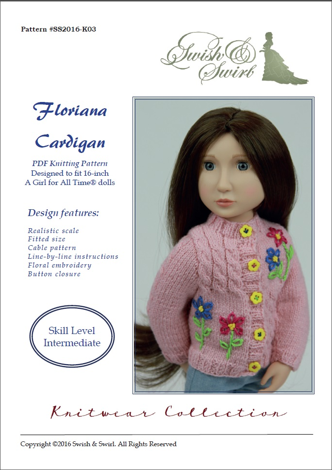 Floriana Cardigan knitting pattern for AGAT dolls – Swish and Swirl®