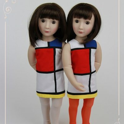 Twin Sams in Mondrian dresses