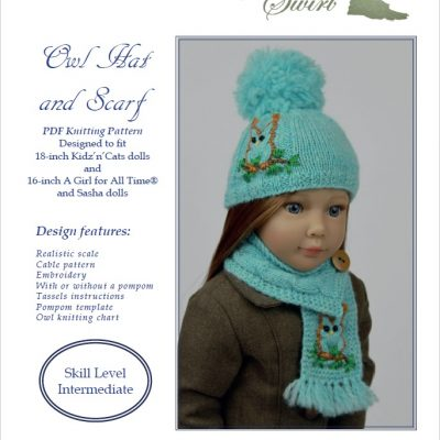 Owl Hat and Scarf knitting pattern for AGAT, Sasha, Kidz'n'Cats dolls