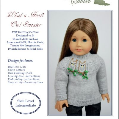 What a Hoot! Owl sweater knitting pattern for AG dolls