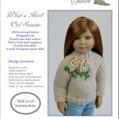 What a Hoot! Owl sweater knitting pattern for 18-21-inch slim dolls