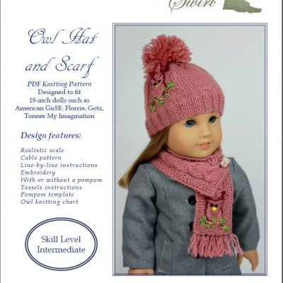 Owl hat and scarf pattern for American Girl dolls