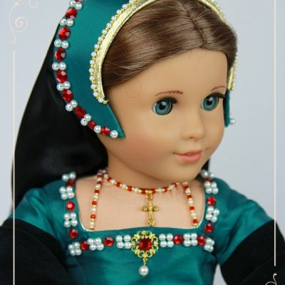Teal Tudor gown for AG dolls