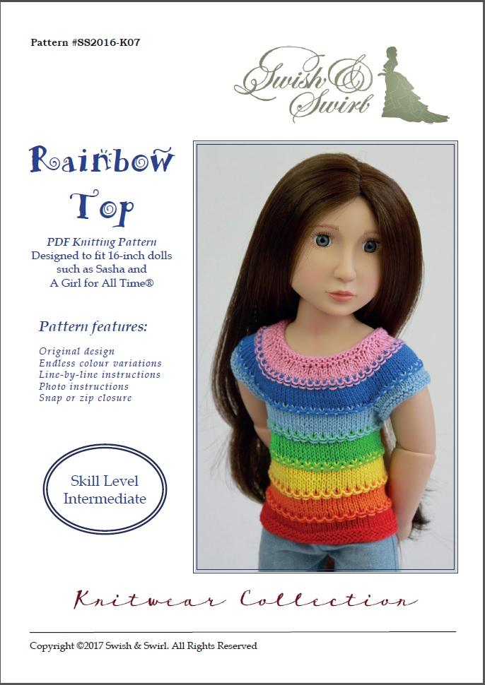 c636f1bb7d7 Rainbow Top knitting pattern for AGAT and Sasha dolls – Swish and Swirl®