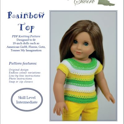 Rainbow Top knitting pattern for 18-inch dolls