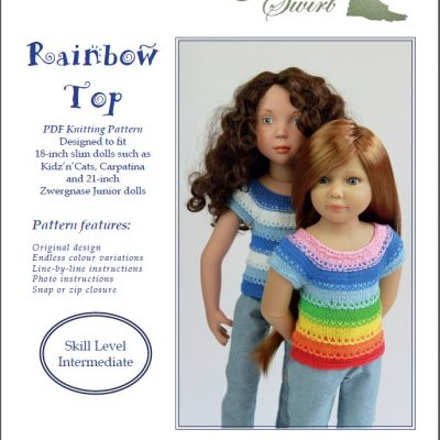 Rainbow Top knitting pattern for KNC, Carpatina dolls