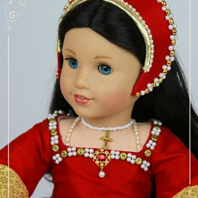 Red Tudor gown for American Girl dolls
