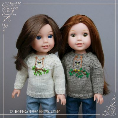 Owl sweater for WellieWishers dolls