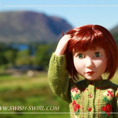Clem in the Lake District. Lakes and mountains.